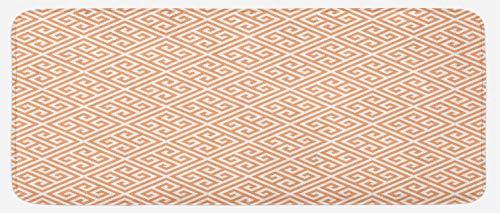 Ambesonne Greek Key Kitchen Mat, Frieze Pattern in Pastel Orange Historical Motif in Diagonal Squares Mosaic, Plush Decorative Kithcen Mat with Non Slip Backing, 47 W X 19 L Inches, Orange White