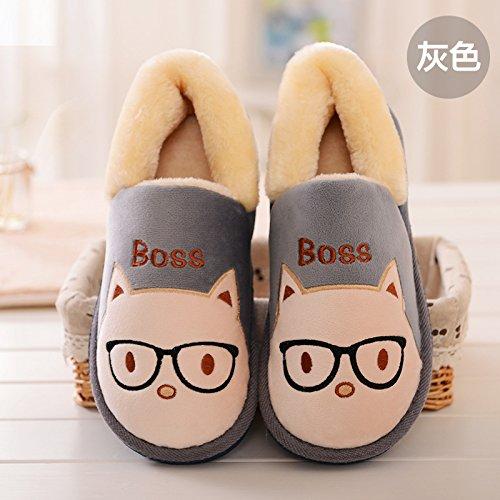 Y-Hui l'inverno il cotone imbottito femmina scarpe addensata con suole spesse gli amanti della calzatura Home un caldo scarpe,quaranta,grigio