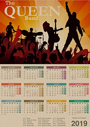 1 piece vintage Queen Rock Band 2019 Calendar posters home living decorative painting kraft paper Poster Window Stickers ()