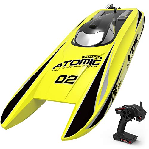 VOLANTEXRC Remote Control Boat RC Boat Atomic 28inch 40mph High Speed RC Watercraft Unibody Hull, Improved Waterproof Design in Lakes, Rivers for Kids or Adults, Boys or Girls (792-4 RTR Yellow) (Speed Boat Racers)