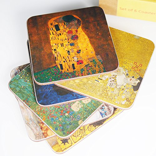 Melamine Coasters (Klimt – Set of 6 Coasters – Melamine - Masterpieces)