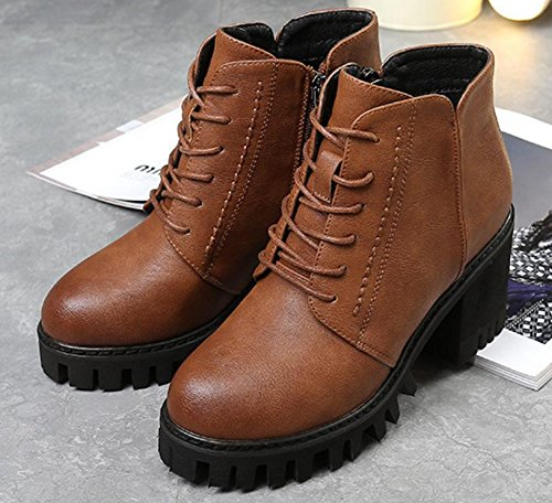 the high of with the students side new heeled boots the version shoes boots in Martin with BROWN 90160CM Korean The NSXZ xgSP7T