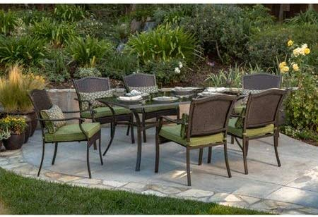 Amazon Com Better Homes And Gardens Providence 7 Piece Patio Dining Set Green Seats 6 Garden Outdoor