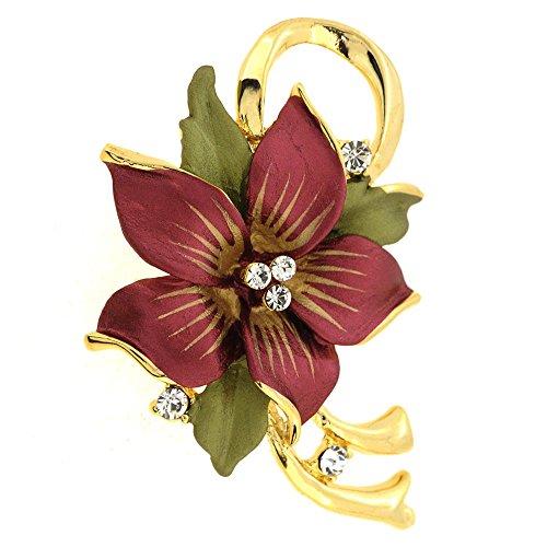 Swarovski Crystal Star Brooch - Fantasyard Red Poinsettia Christmas Star Swarovski Crystal Flower Pin Brooch Pendant