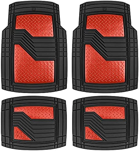 Caterpillar Heavy Duty Rubber Floor Mats for Car SUV Truck & Van-All Weather Protection, Front & Rear with Heelpad & Anti-Slip Nibs Backing, Trim-to-Fit, Black/Red