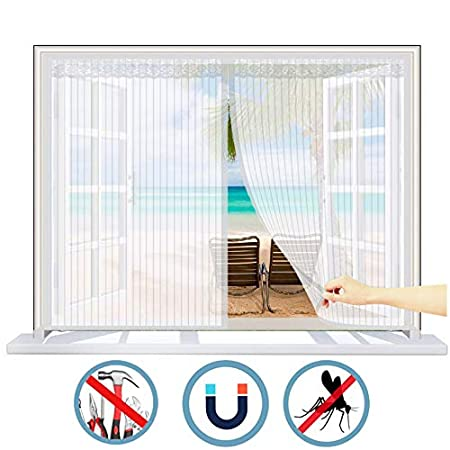 para Ventanas Batientes Marr/ón 150x130 CM Sin Punz/óN Anti Mosquitos WISKEO Mosquitera Ventana Recortable Magn/ética de Autoadhesiva Cortina Cualquier Tama/ño WxH