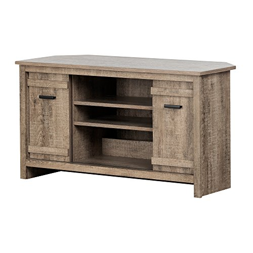 South Shore 11927 Exhibit Corner Stand, for TVs up to 42'', Weathered Oak (Corner Oak Media Stand)