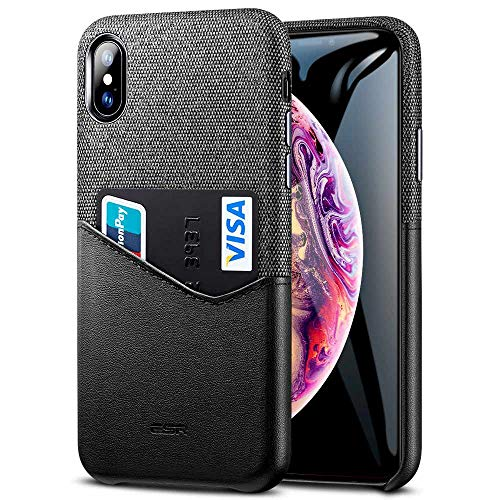 ESR Metro Wallet Case for iPhone Xs Max, Soft Fabric + Premium PU Leather Case with ID&Card Holder Slot for iPhone 6.5 inch(2018 Release)(Charcoal/Black)