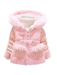 Bai You Mei Baby Girls Kids Winter Knited Fur Outerwear Jacket Coat Snowsuit Clothing