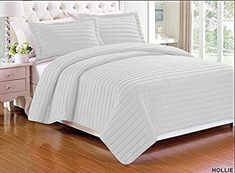 Amazon.com: 3 pieces Solid Color Quilt Bedspread Coverlet Set with ... : solid color quilted pillow shams - Adamdwight.com