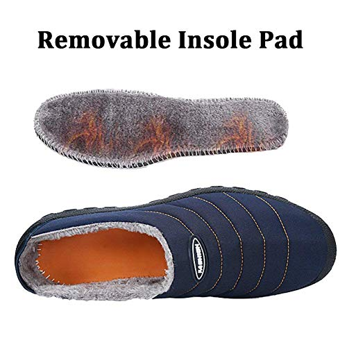 Navy a Slippers Winter Snow Slippers House Mens Outdoor on Indoor Fur Lined Fully Eagsouni Blue Womens Slip Shoes PwZ0T