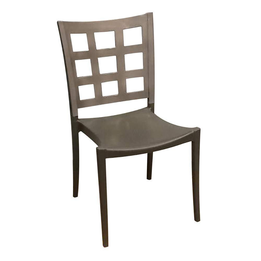 Grosfillex US646579 Plazza Stacking Side Chair, Titanium Gray with Charcoal Seat (Case of 16)