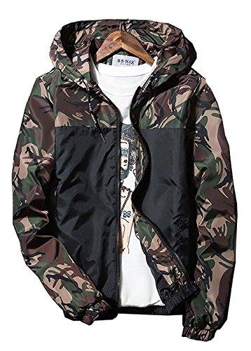 [オチビ] ウィンドブレーカー メンズ フード付き カモフラ 迷彩 柄 ジャンパー ジャケット サイクル 登山 防風 防寒