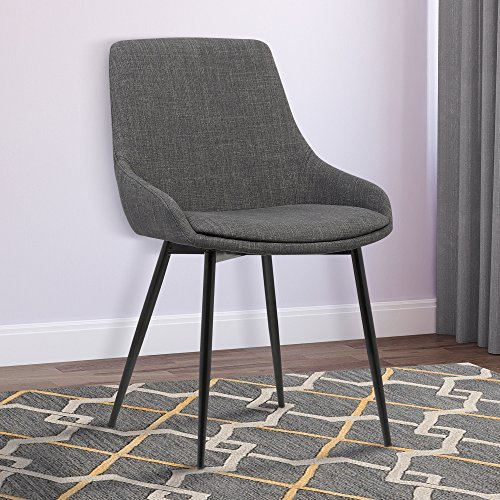Armen Living LCMICHCH Mia Dining Chair in Charcoal Fabric and Black Powder Coat Finish - Gray Coat Arms