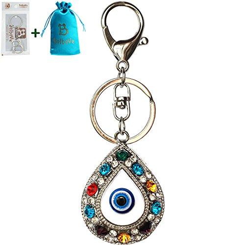 Bolbove Colorful Evil Eye Keychain Sparkling Keyring Crystal Rhinestones Purse Pendant Handbag (Evil Eye Heart Bracelet)