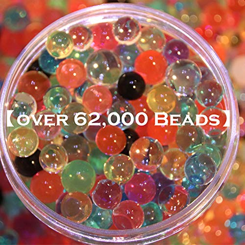 Water Beads 18 oz (over 62,000 beads!!) For Kids Sensory Experience, Toy Guns with Bullet Beads[Rainbow Mix], Party Decoration and Watering plant by TD.IVES (Image #1)