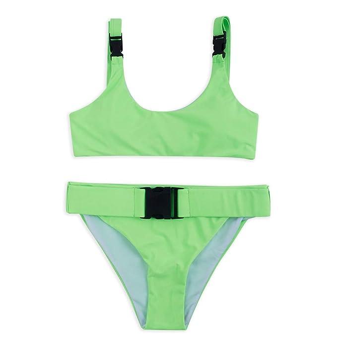 Bikini sexy de color verde lima para mujer