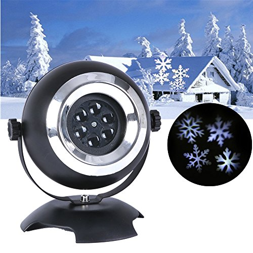 lanji Snowflakes Projector Moving Waterproof LED Lights Gift Decorations for Christmas, Halloween, Holiday, Wall Motion Decoration]()