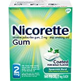 Nicorette Nicotine Gum Spearmint Flavor Coated 2 mg Stop Smoking Aid, 160 count