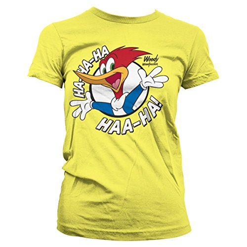Officially Licensed Woody Woodpecker HAHAHA Women T-Shirt (Yellow), Large