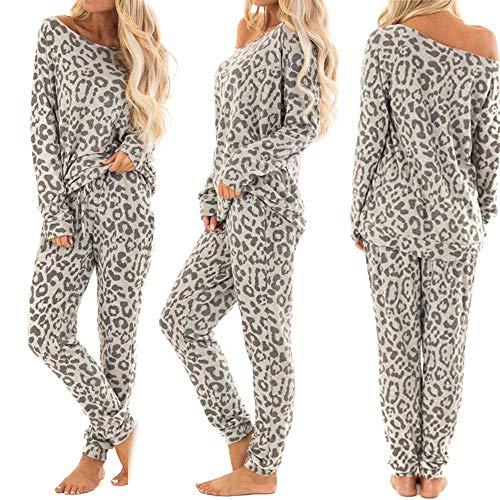 2PCs PJS Sets Leopard Women Tracksuit Pants Leisure Pajamas Lounge Wear Suit (M, Gray) (Lounge Pants Leopard)