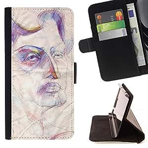 For Samsung ALPHA G850 Case , Boceto de arte Cara Rústico Autoportrait- la tarjeta de Crédito Slots PU Funda de cuero Monedero caso cubierta de piel