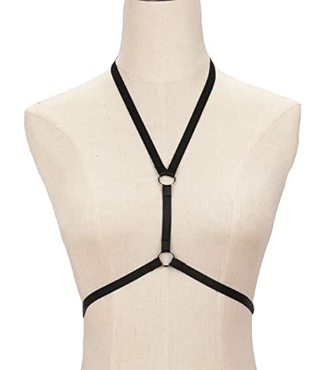 a4d6bd55582 Jiao Miao Women Harness Elastic Cupless Cage Bra Hollow Out Strappy Crop  Top