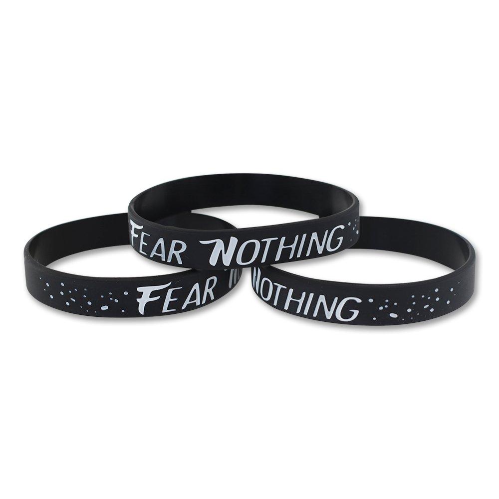 FEAR NOTHING - Motivational Black Silicone Wristband (3 Bracelets)