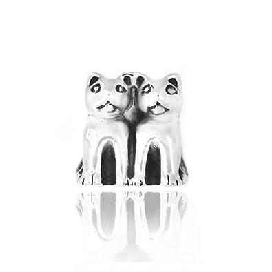 9373fb6a8 Twin Cat Kitty 925 Sterling Silver Bead Fits Pandora Charm Bracelet:  Amazon.co.uk: Jewellery