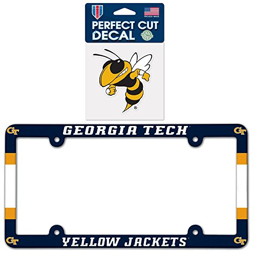 Yellow Jackets Rear Window (Georgia Tech Yellow Jackets NCAA Plastic License Plate Frame with 4