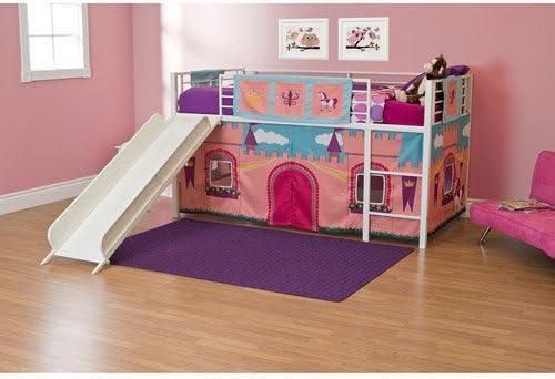 Amazon Com Girls Princess Castle Loft Bed With Slide Bunk Bed