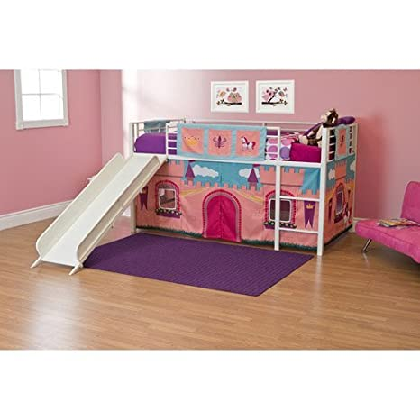 Amazon Com Girls Princess Castle Loft Bed With Slide Bunk Bed Twin