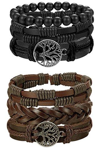 FIBO STEEL 6 Pcs Leather Bracelet for Men Women Tribal Bracelets Leather Wristbands Adjustable (Tribal Leather Wristband)