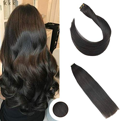Ugeat 16inch 50Gram Tape in Remy Human Hair Extensions Off Black Color Seamless Tape in Hair Extensions Real Hair