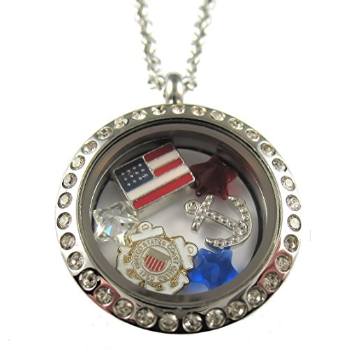 - FCL Designs - Coast Guard Theme Floating Charm Locket Necklace