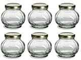 Nakpunar 6 pcs, 8 oz Round Glass Jars for Jam, Honey, Wedding Favors, Shower Favors, Baby Foods, Canning, spices