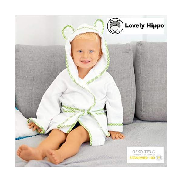 Lovely Hippo - Accappatoio bambini : bambina e bambino, 100% cotone Oeko-Tex senza sostanze chimiche, design francese 6