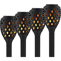 4-Pack Peatop Flickering Flames Torch Solar Lights