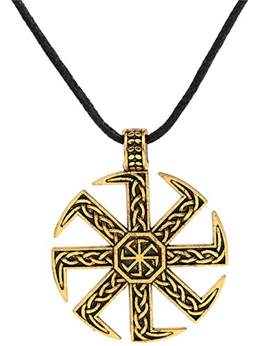 (Vikings Slavic Kolovrat Sun Wheel Necklace Double Sided Pendant Celtic Norse Talisman Gifts Jewelry (antique gold))