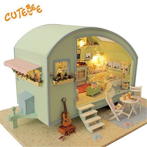 Furniture Doll Handmade - CUTEBEE Handmade Doll House Miniature with Furniture LED Light, Diy Wooden House Toys Fit for Teens Adults Christmas Gifts and Crafts Assemble Their Own in English Instruction Time Travel RV