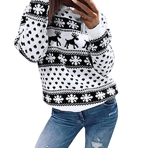 Christmas Sweater for Women,WUAI Clearance Vacation Loose Fit O-neck Floral Print Casual Oversize Fashion Tops(Black,Size -