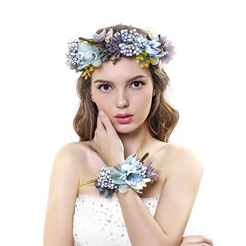 (Ever Fairy 2pc/set Blue Flower Wreath Garland Headband and Wrist Flower for Wedding)