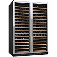 (DR) NFINITY PRO Double L RED 166-Bottles Wine Cellar, Dual-Zone Cooler w/ Steel Door (S1011)