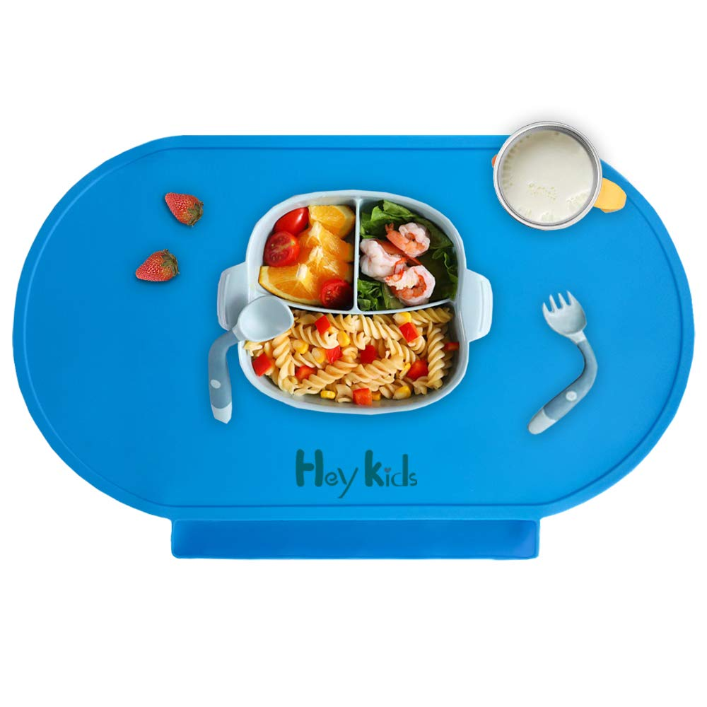 Silicone Baby Placemat, Food-Grade Food Catching Placemats for Kids Baby Toddler, Reusable Non-Slip Table Mats, Baby Food Mats for Restaurant Lightweight and Portable,Baby Blue