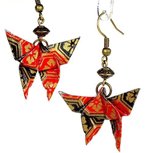Paper Origami Butterfly Lightweight Earrings, Red Black & Gold Color w/ Brass Tone Bicone Bead (Colour Bicone)