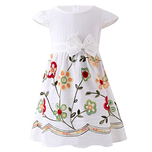 (SMILING PINKER Toddler Girls Dress Casual Embroidered Floral Boho Vintage Dresses(White and Red,1-2T))