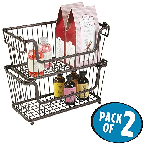 mDesign Open Wire Storage Basket for Kitchen, Pantry, Cabinet - Pack of 2, 12