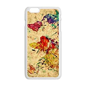Happy Watercolor world map Cell Phone Case for Iphone 6 Plus