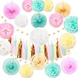 40 Pcs Tissue Paper Fan Tissue Paper Tassel Tissue Paper Pom Poms Flowers Gold Glitter Star Garland Kit for Wedding,Party Decorations,Baby Shower,Nursery,Celebrations Decorations