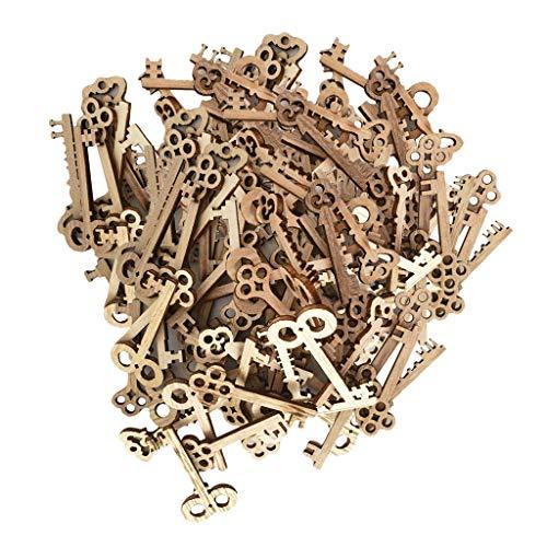 Fenteer Wholesale 100 Pieces Wooden Key Shape Xmas Crafts Embellishments Scrapbooking Wedding Decorations